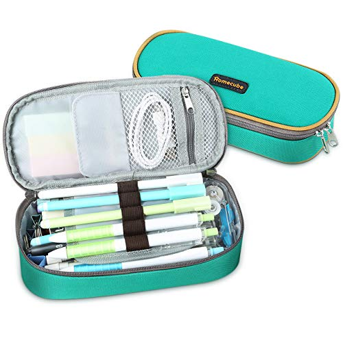 Homecube Pencil Case Big Capacity Pencil Bag Makeup Pen Pouch Durable Students Stationery with Double Zipper Pen Holder for School/Office, Green