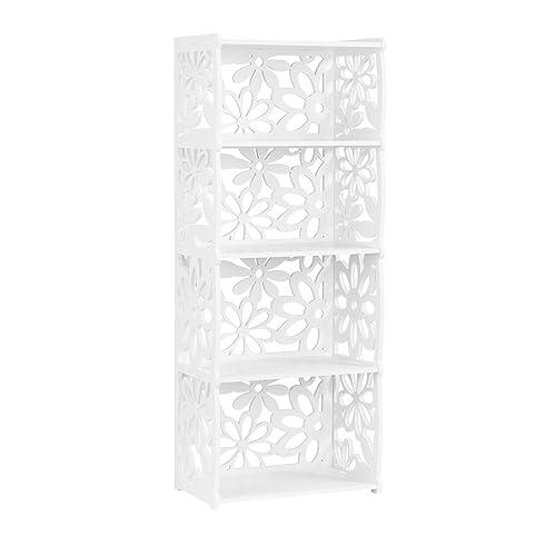 Finether 4-Tier Etagère D'angle Etagère de Rangement Bibliothèque Meuble de Rangement WPC Bois- Plastique Etagère Livres Meuble Stockage SGS Certifié, Blanc (40cm W x 24cm D x 100cm H)