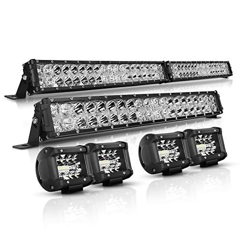 Light Bar for Truck Autofeel 42 Inch + 22 Inch + 4PCS 4 Inch LED Light Bar Kit with DRL 28000LM Flood Spot Combo Fits for SUV ATV UTV Boat