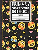 Primary Composition Notebook: Cool Emoji, Stars, Pencils and Eraser K-2, Kindergarten Composition School Exercise Book (Story Paper Journal) for Boys and Girls