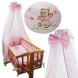 8 tlg. Baby Ausstattung Set für Schaukelwiege Wiege Babywiege Wiege-Garnitur Bettset Beistellbett (Rosa)