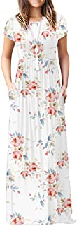 Women's Short Sleeve Loose Plain Maxi Dresses Casual Long Dresses with Pockets