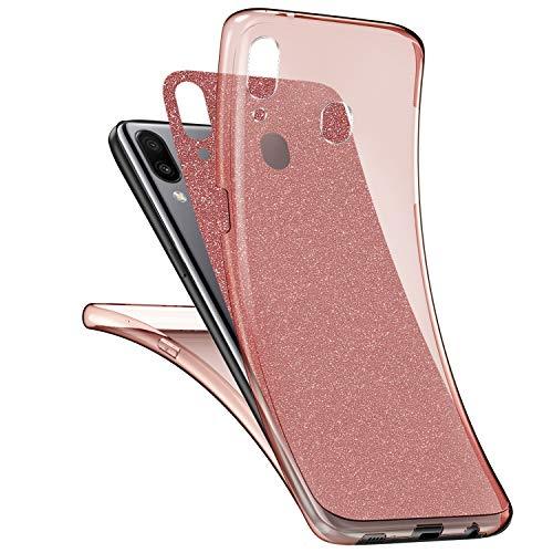 Ysimee Compatible avec Samsung Galaxy M20 Coque Intégral,Silicone Paillette Brillante Étui Transparente Double Gel TPU Housse 360 Degrés Avant Et Arrière Ultra Mince et Léger Bumper Cover,Or Rose