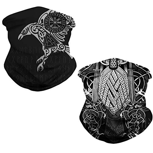 DUOLIFU Cool Skull Face Bandanas Sports & Casual Headwear Viking Print Neck Gaiter, Headwrap, Balaclava, Helmet Liner,Odin's Raven Viking Tattoo