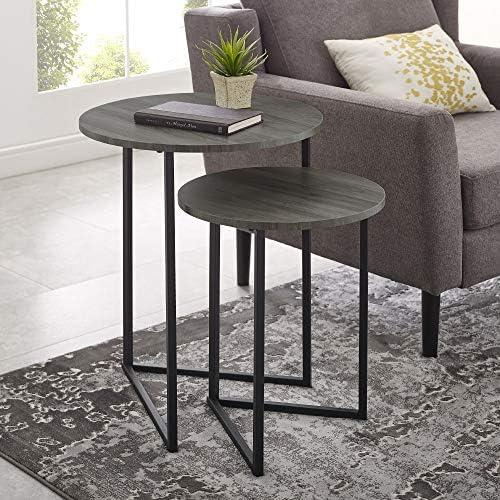 Best Walker Edison Furniture Company Modern Round Metal Base Nesting Set Side Accent Living Room Storage