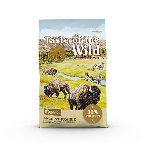 Taste of the Wild with Ancient Grains Ancient Prairie Canine Recipe with Roasted Bison and Venison Dry Dog Food for All Life Stages Made with High Protein from Real Meat and Guaranteed Nutrients 28lb