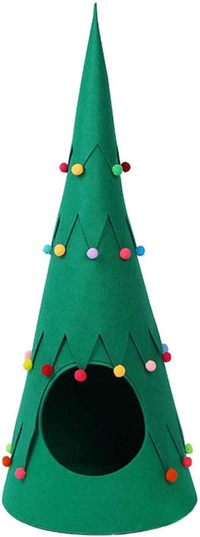 ZYYXB Cama para gatos y perros, cueva, árbol de Navidad, casa de mascotas, fieltro, forma de árbol de Navidad, tienda de campaña para gatos, cueva, tipi de mascotas