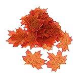 100 Hojas de arce artificiales, hojas de otoño, para boda, jardín, decoración
