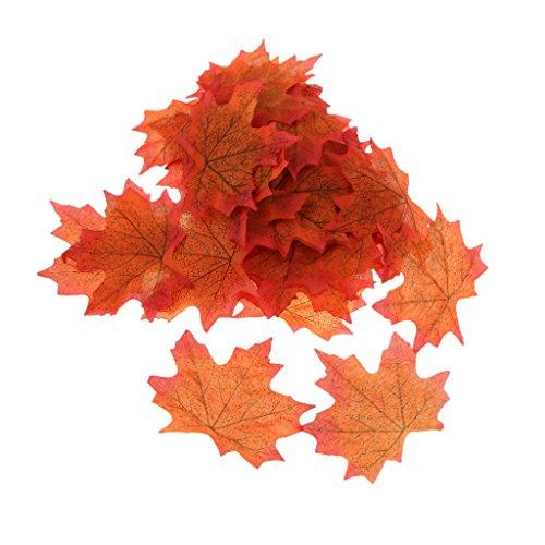 Lot de 100 feuilles d'érable artificielles pour décoration d'intérieur/jardin/mariage orange