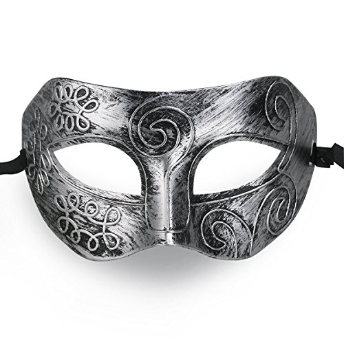 Cool Men Fighter Masquerade Face Mask for Ball Party/ Halloween (Silver)