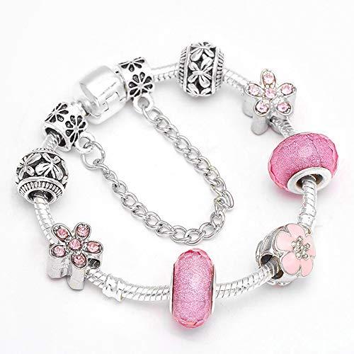 Cuentas de flores rosadas se adapta al estilo europeo plateado pulsera de encanto para mujeres joyería regalo C01 20cm
