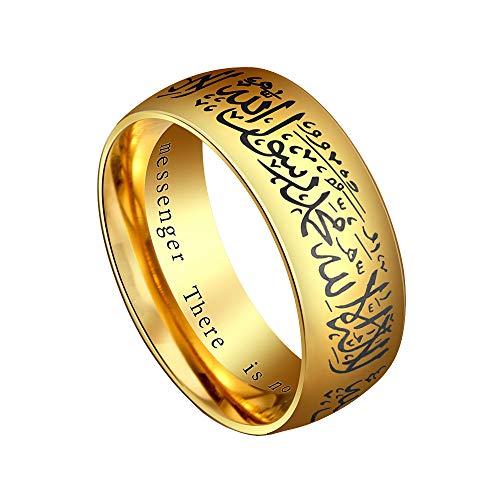 HIJONES Hombre Acero Inoxidable Anillo Islámico Musulmán con Negro Shahada en Árabe e Inglés Oro Tamaño 14