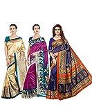 VintFlea Combo de Saris Estampados en Seda cruda para Mujer Indian New handiloom - Multi