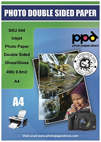 """PPD Inkjet Glossy / Glossy Double Sided Photo Paper A4 (8.27X11.69"""" similar to 8.5x11"""") 49lbs. 180gsm 9.9mil X 200 Sheets (PPD044-200)"""