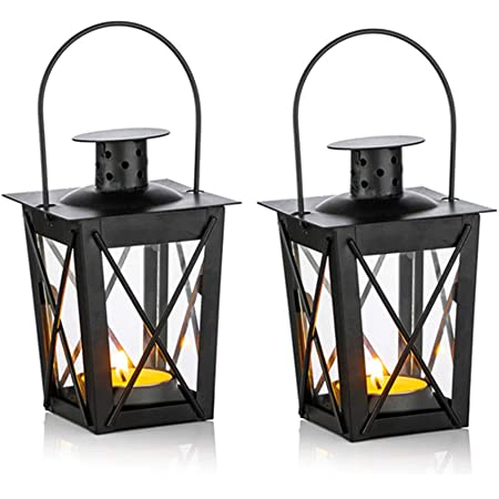 Amazon Com 2 Pcs Tealight Lanterns Hanging Candle Holder Metal Mini Decorative Led Tea Light Candleholder Decoration For Birthday Parties Wedding Centerpiece Relaxing Spa Setting Black 2 Pcs Kitchen Dining