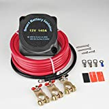 MaySpare Dual Battery Isolator Kit 12V 140Amp Voltage Sensitive Relay VSR Double Battery Automatic Charger & Wiring Cable Kit