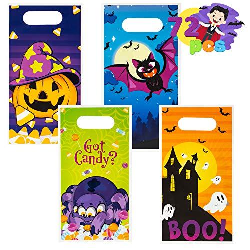 JOYIN 72 bolsas de truco o dulces de Halloween en 4 diseños para trucos o tratos, regalos de fiesta de Halloween, suministros de fiesta de eventos, bolsas de regalo de Halloween
