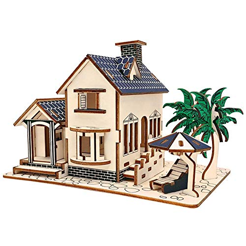 Rompecabezas de madera 3D Villa Edificio Casa Rompecabezas Juguete Artesanías educativas Rompecabezas DIY Conjunto de construcción Kit de construcción Regalo mecánico de madera para niños Niño Adultos