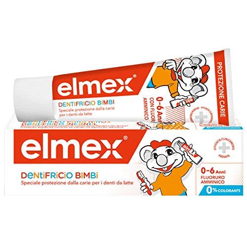 elmex Dentifricio Bimbi 0-6 Anni, con Concentrazione Ridotta di Fluoruro Amminico per Proteggere i Denti dei Bambini, Protezione Anticarie Speciale per i Denti da Latte, 0% Coloranti, 50 ml
