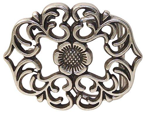FRONHOFER Gürtelschnalle florales Muster, Damen Buckle Schnalle Blumenmuster Silber, 3,5 cm, 18329, Größe:One Size, Farbe:Silber