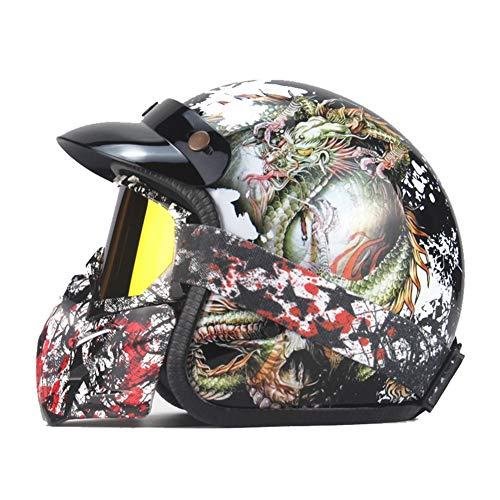 XIUYJBD Harley Retro Helm, motorfiets, 3/4 halve helm, schedel afbeelding, vier seizoenen, mannen en vrouwen, Harley helm (55-62 cm