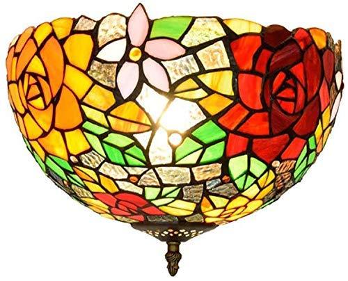 Lámpara de techo, luz de baño Lámpara de techo de vidrio de jardín retro, lámpara de techo, accesorio de techo de vidrio de vidrio clásico de 30 cm, iluminación de techo de 12 pulgadas interior para e