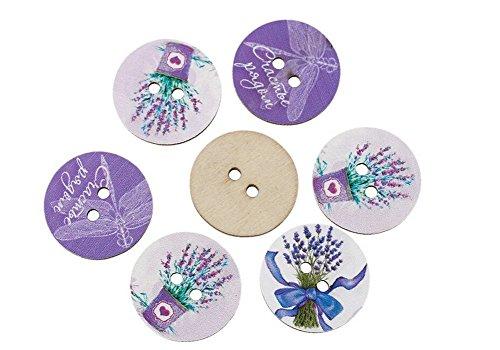 50 PCS Kanggest Lavender Flower DIY Wooden Buttons Sewing Scrapbooking Vintage Buttons(Purple)