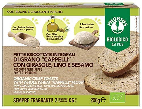 Probios Fette Biscottate Artigianali Integrali di Grano Duro Cappelli Bio - Confezione da 200 g