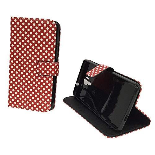 König Design Handyhülle Kompatibel mit Wiko Robby Handytasche Schutzhülle Tasche Flip Hülle mit Kreditkartenfächern - Polka Dot Weiße Punkte Rot