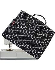 NICOGENA غطاء آلة الخياطة الغبار مع مقبض علوي وجيوب، متوافق مع معظم الآلات القياسية المغني والأخ، فانوس أسود