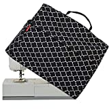 NICOGENA Sewing Machine Dust Cover with Top Handle and Pockets, Compatible with Most Standard Singer and Brother Machines, Lantern Black