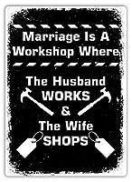 結婚はワークショップですティンサイン壁鉄絵レトロプラークヴィンテージ金属シート装飾ポスターおかしいポスターぶら下げ工芸品バーガレージカフェホーム