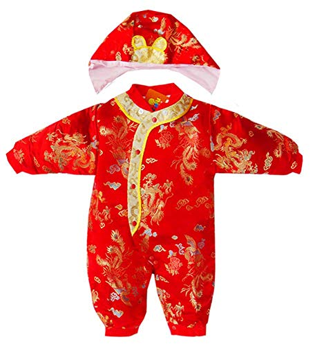 CRB Fashion Baby Infant Boy Girls Chinese New Years Romper Outfit Suit One Piece (0 to 3 Months, Dragon)