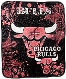 Officially Licensed NBA Chicago Bulls Dropdown Royal Plush Raschel Throw Blanket, 50' x 60', Multi Color