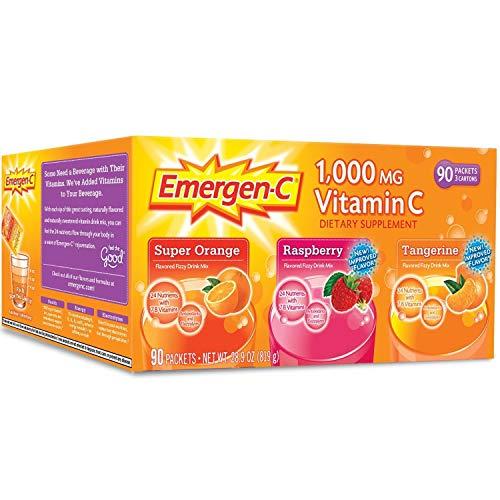 Emergen-C 1,000 mg Vitamin C Dietary Supplement Drink Mix, Super Orange/Raspberry/Tagerine, 90 Packets