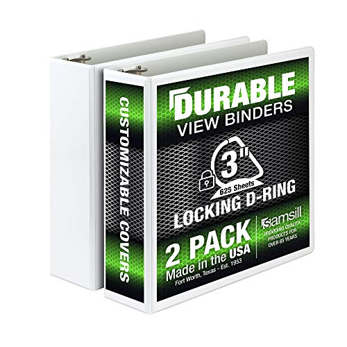 Samsill 3 Ring Durable View Binders - 2 Pack, 3 Inch Locking D-Ring, Non-Stick Customizable Clear View Cover, White