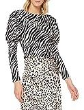 MISS SELFRIDGE Black Zebra Printed Puff Sleeved Top Blusas, Negro, 10 para Mujer