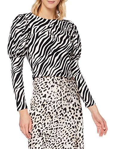 Miss Selfridge Black Zebra Printed Puff Sleeved Top Camicia da Donna, Nero, 10