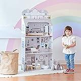Teamson Kids Gris 3-Niveles Deluxe Casa De Muñecas Madera Y Accesorios TD-11683D