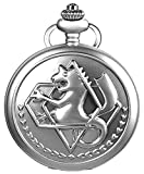 Fullmetal Alchemist Anime Cosplay Accessories Quartz Pocket Watch + Chain (Silver)