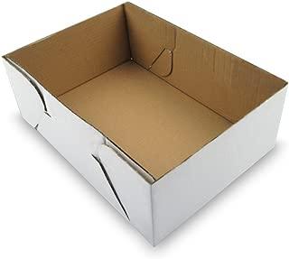 W PACKAGING WPCB100KWPB Plain Cake Box (Bottom Only) for Rectangular Cakes, Full-Sheet, B-Flute, White/Kraft (Pack of 50)
