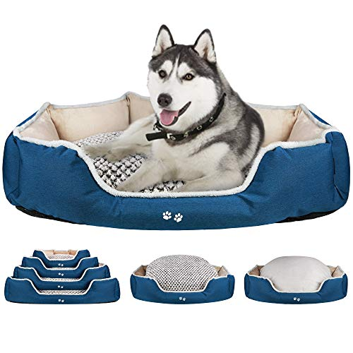 KROSER Deluxe 122cm Dog Bed with Reversible Pillow (Warm and Cool), Super Soft Sleeping Pet Bed, Machine Washable & Removable Covers, Non-slip Waterproof Bottom Sofa Bed for X-Large Dogs up to 50kg