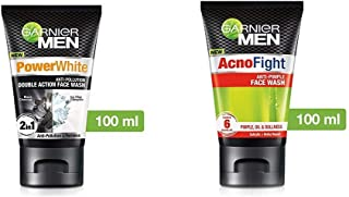 Garnier Men Power White Anti-Pollution Double Action Facewash, 100gm And Garnier Men Acno Fight Anti-Pimple Facewash, 100gm