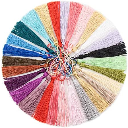 VAPKER 200 Pieces 13cm 5 Inch Silky Handmade Soft Tassels Floss Bookmark Tassels with 2 Inch product image