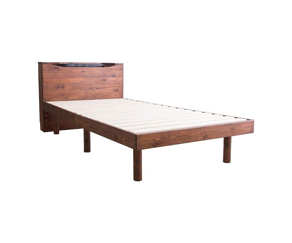 頭痛ランチグリットすのこベッド シングル ベッド LED照明付き コンセント付き フレームのみ アンティークブラウン 頑丈 シンプル 天然木フレーム 高さ2段階すのこベッド 宮付き 脚 高さ調節 すのこ 木製ベッド フロアベッド ローベッド
