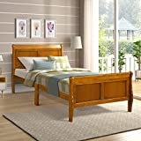 Wood Rustic Style Platform Bed with Headboard/Wood Slat Support, Queen, Solid Wood Twin Bed Frame Mattress Foundation Sleigh Bed with Footboard, Twin Bed Frame Easy Assembly Ship from USA (Oak) -  Colin