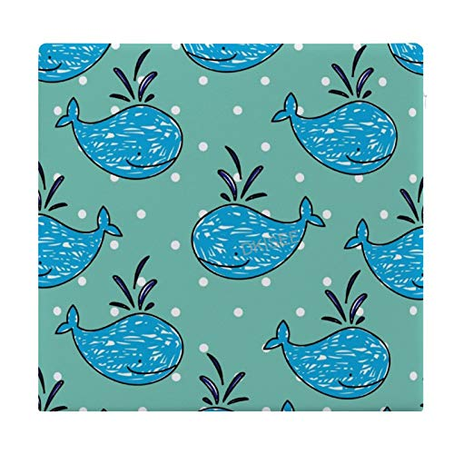 DKISEE Whale Cartoon Round/Square Seat Cushion, Polyester Soft Memory Foam Chair Pad for Tatami Carpet Wooden Floor Office Kitchen Dining Chairs, 15x14 Inch
