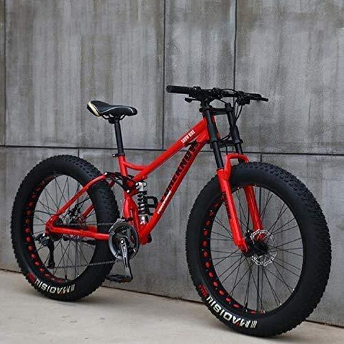 AUTOKS Vélos de Montagne pour Adultes, vélo de Montagne Semi-Rigide 24 Pouces Fat Tire, Cadre à Double Suspension et Fourche à Suspension VTT Tout-Terrain, Rouge, 27 Vitesses