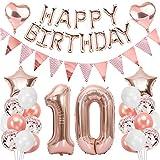 Ouceanwin 10 Ans Anniversaire Décorations Or Rose Ballons Deco Anniversaire pour Filles, Guirlande Happy Birthday Ballons, Géants Ballons Numéro 10, Ballons Confettis Rose Or Fournitures de Fête Kit
