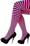 PartyXplosion Damen Mädchen Kinder Strumpfhose Gestreift Bunt Orange Grün Pink Grün Gelb Schwarz Karneval (Pink)